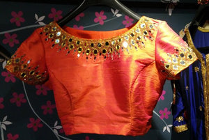 Designer blouse with mirror work - boatneck