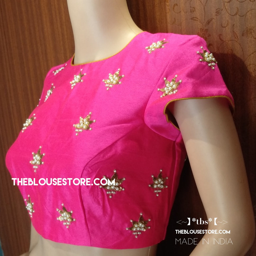 Blouse design 101 - Saree Blouse with pearls and sequins handwork.