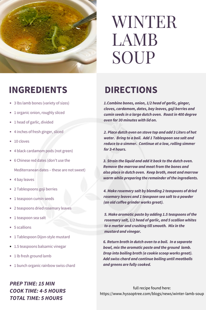 Winter Lamb Soup by Dorathy Lachman for Hyssop Tree