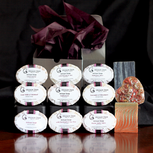 Natural goat milk & oatmeal soaps featured in 12 soap gift set by Hyssop Tree