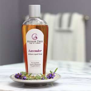 handmade liquid soap with lavender essential oil by hyssop tree