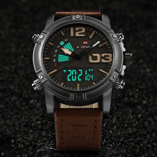 Front image Reserves Military Analog-Digital Watch in gray background