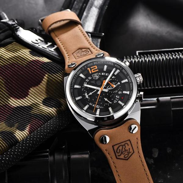 Aircraft Men's Military Chronograph Brown Leather Watch