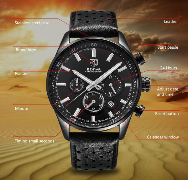 Wilder Leather Chronograph Watch function
