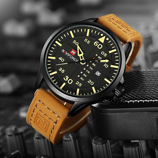 Admiral Quartz Leather Watch - Yellow