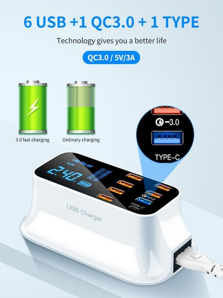 8 Ports Quick USB Charger 3.0 Led Display type