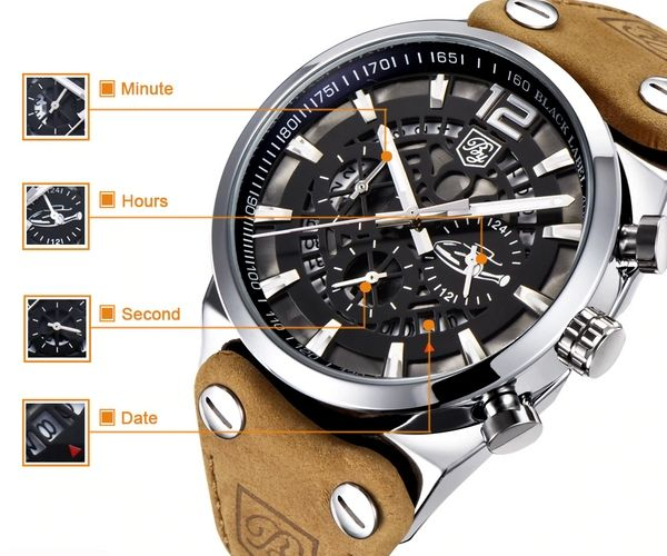 Aircraft Men's Military Chronograph Brown Leather Watch - Chronograph Function