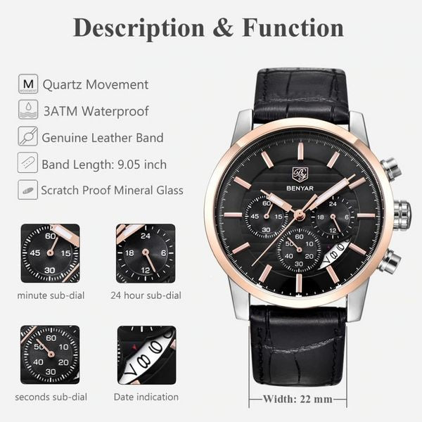Benton Vintage Quartz Chronograph Watch - Function