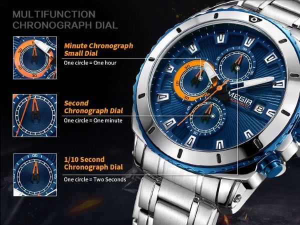 Bigoza Stainless Steel Gents Watch function detail