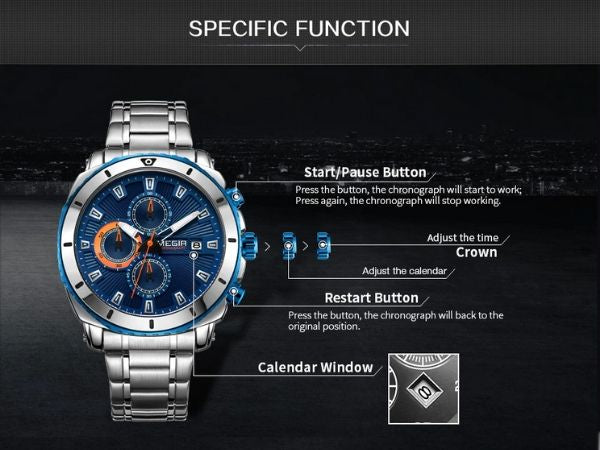 Bigoza Stainless Steel Gents Watch specific function
