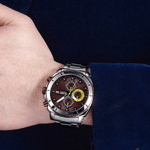 Man wearing Bigoza Stainless Steel Gents Watch with coffee dial on wrist