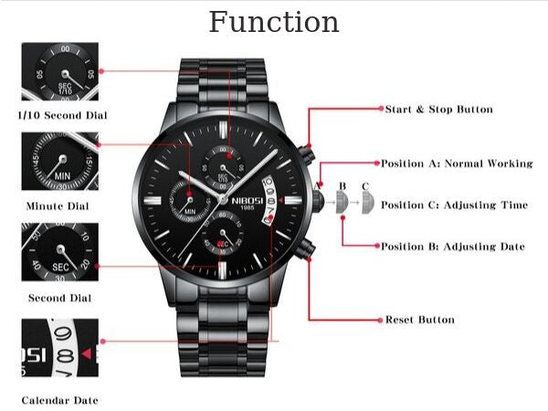 Brons Men's Chronograph Stainless Steel Watch - Function