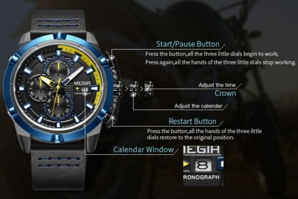 Front-facing image Delta Leather Chronograph Military Watch function detail