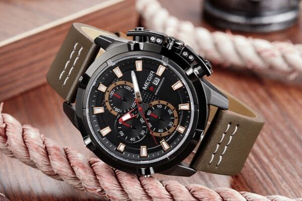 Front-facing image Delta Leather Chronograph Military Watch with brown markers