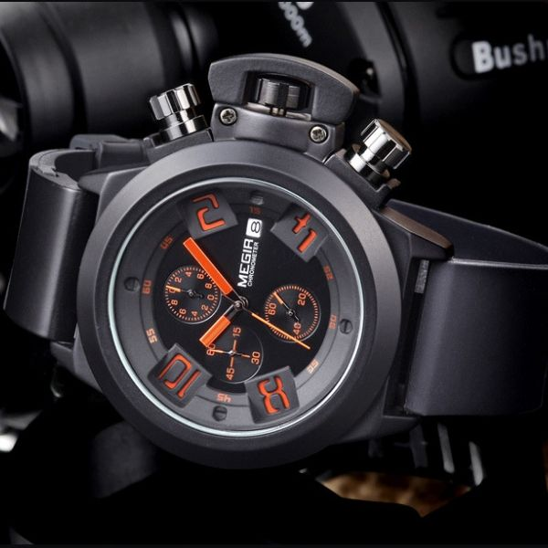 Front-facing image black Crown Chronograph Military Watch in gray background