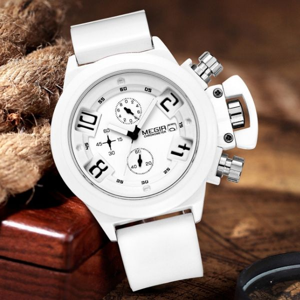 Front-facing image white Crown Military Chronograph Watch in brown background