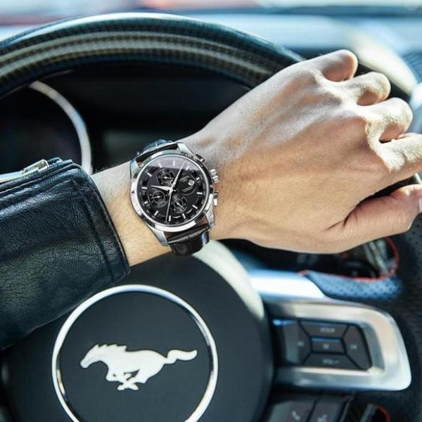 Royal Vintage Black Leather Watch