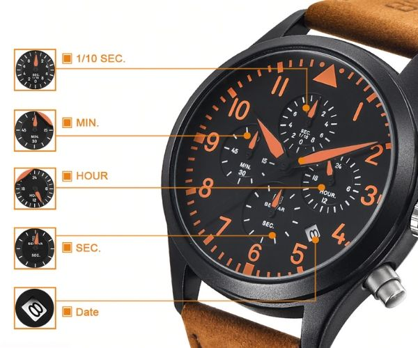 Pilot Military Leather Strap Watch