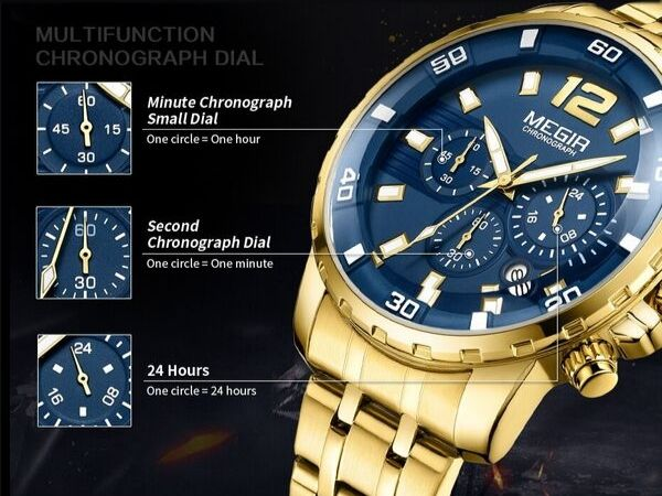 Epic Stainless Steel Chronograph Watch - BringWish - Function Detail