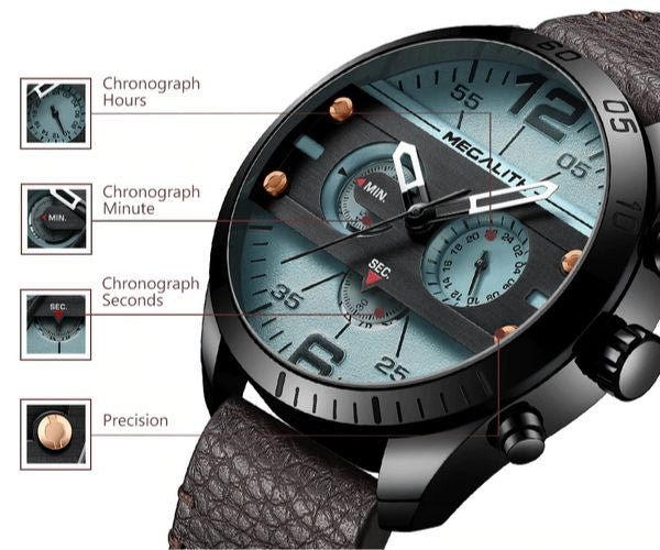 Vazen Men's Chronograph Fashion Quartz Watch - Detail Function