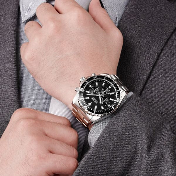 Man wearing Barsel Chronograph Gents Watch with black dial on wrist
