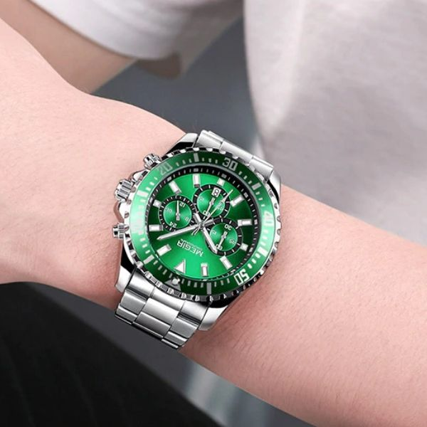 Man wearing Barsel Chronograph Gents Watch with green case on wrist