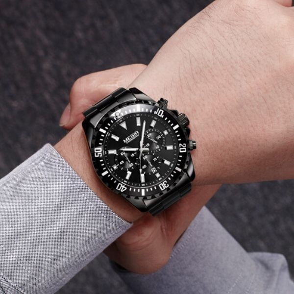 Man wearing black Barsel Chronograph Gents Watch on wrist