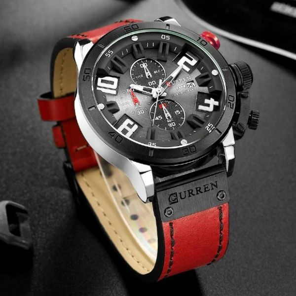 Numezo Men's Chronograph Watch Leather Strap