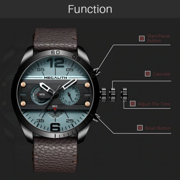 Vazen Men's Chronograph Fashion Quartz Watch - Function