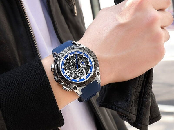 Men wearing blue Holez Mens Waterproof Sports Watch on the wrist