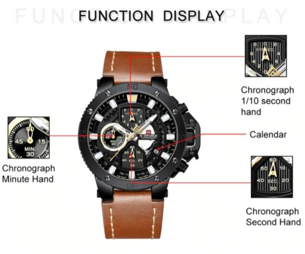 Zincon Mens Chronograph Leather Watch - Function