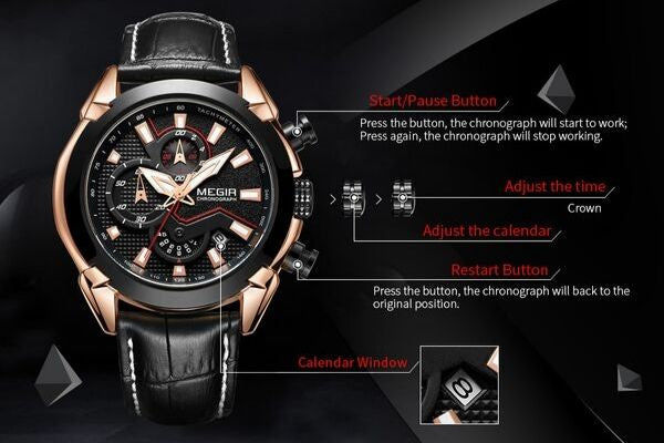 front-facing image Insignia Leather Military Watch show function detail