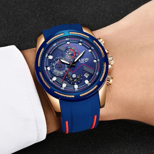 Pazone Sports Military Watch blue color wearing on the wrist