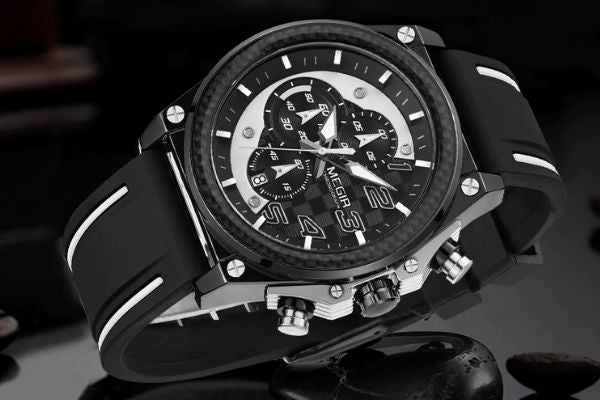 Front image Miler Men's Chronograph Quartz Watch with white markers in gray and black background