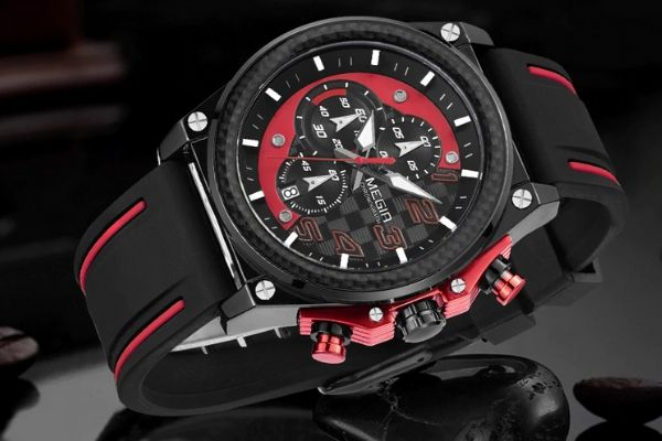 Front image Miler Men's Chronograph Quartz Watch with red markers in gray and black background