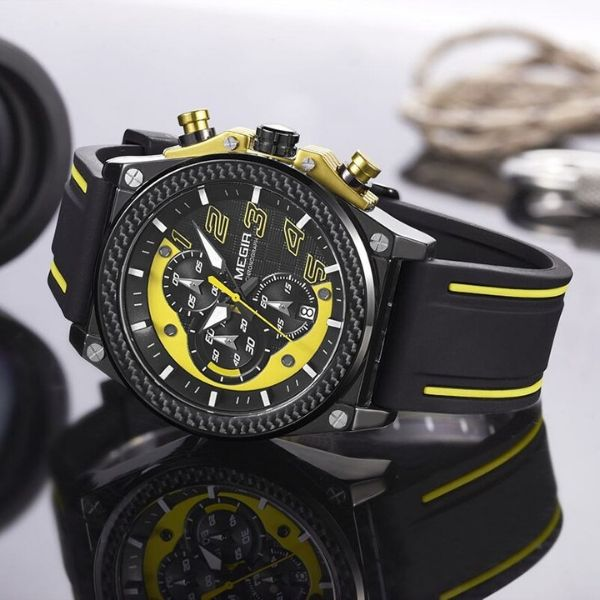 Front image Miler Men's Chronograph Quartz Watch with yellow markers in gray background