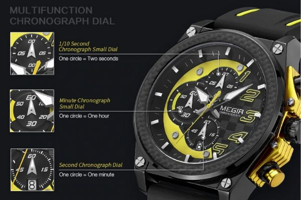 Miler Men's Chronograph Quartz Watch Function Detail