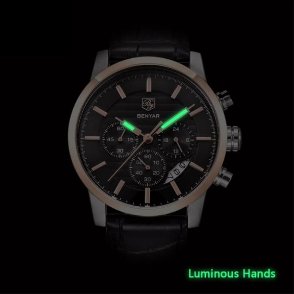 Benton Vintage Quartz Chronograph Watch - Luminous Hand