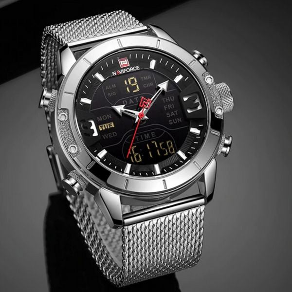 Front image silver Zonevo Stainless Steel Wrist Watch in gray background