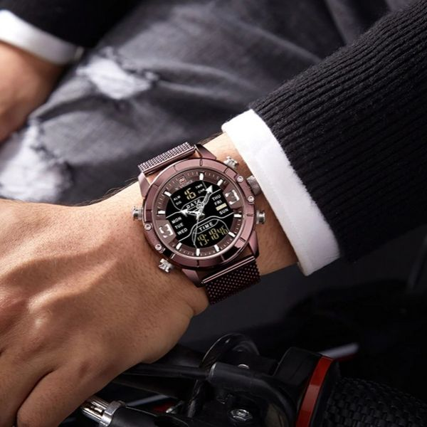 Man wearing coffee Zonevo Stainless Steel Wrist Watch on wrist
