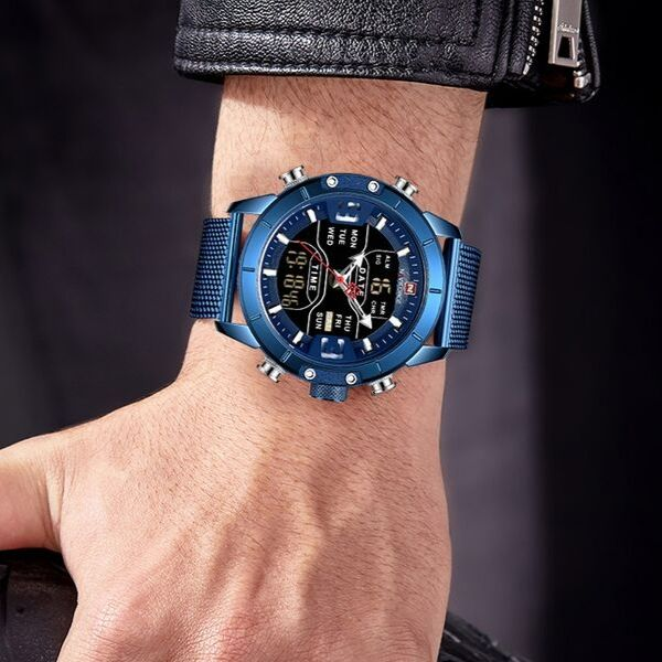 Man wearing blue Zonevo Stainless Steel Wrist Watch on wrist