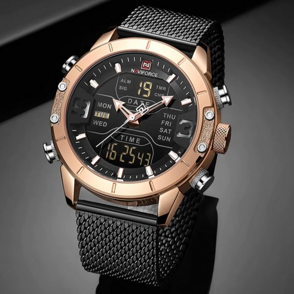 Front image gold-black Zonevo Stainless Steel Wrist Watch in gray background