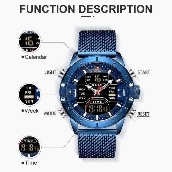 Blue Zonevo Stainless Steel Wrist Watch function