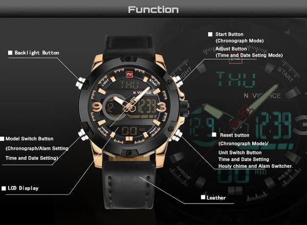 Torpedo Analog Digital Military Watch function