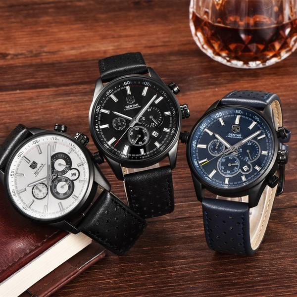 Front image of three Wilder Leather Chronograph Watches in brown background