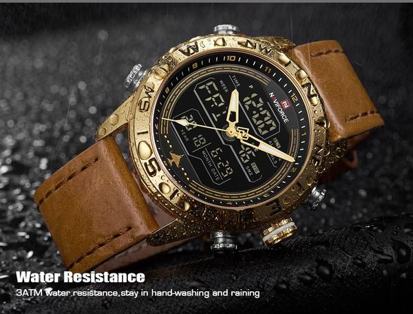 Front facing image Compass Analog-Digital Military Watch in rain background