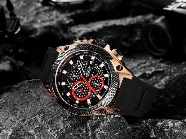 black and rose gold Holez Mens Waterproof Sports Watch