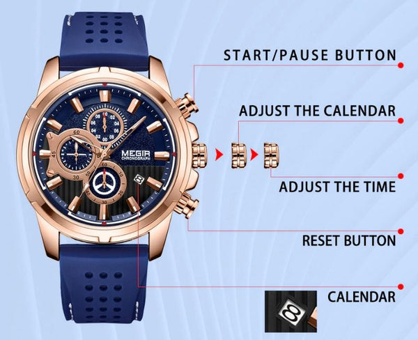 blue color Mersel Silicone Fashion Watch function