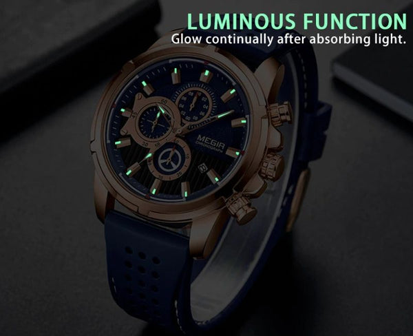 blue color Mersel Silicone Fashion Watch luminous function