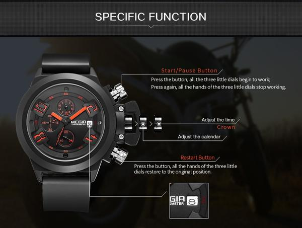 Crown Chronograph Military Watch detail function